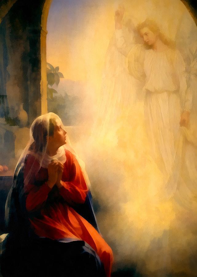 The Annunciation Digital Art - The Annunciation by Carl Bloch