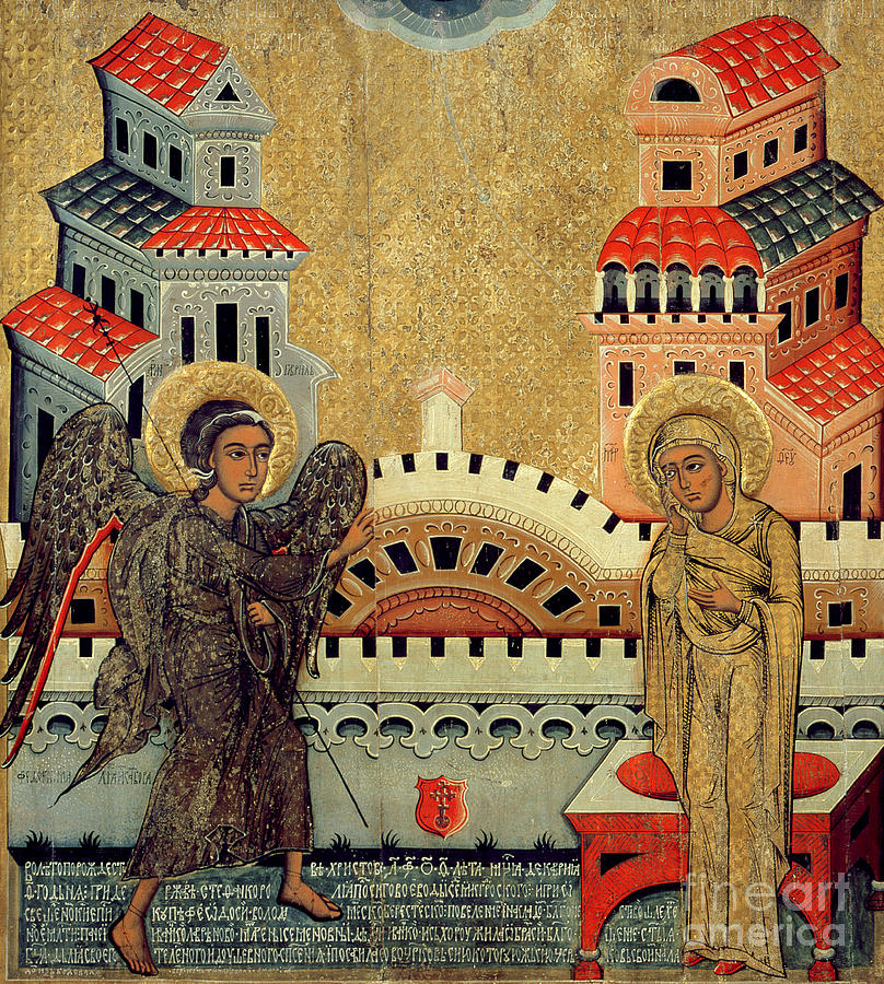 Virgin Mary; Madonna; Archangel Gabriel; Announcing; Russian Icon; Stylised; Gold Leaf; Byzantine Painting - The Annunciation by Fedusko of Sambor