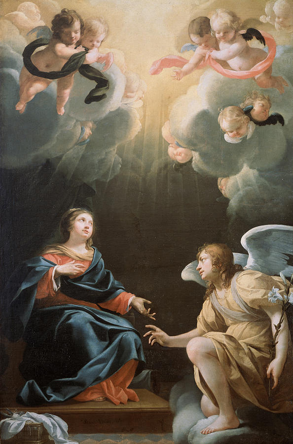 Angel Painting - The Annunciation by Simon Vouet