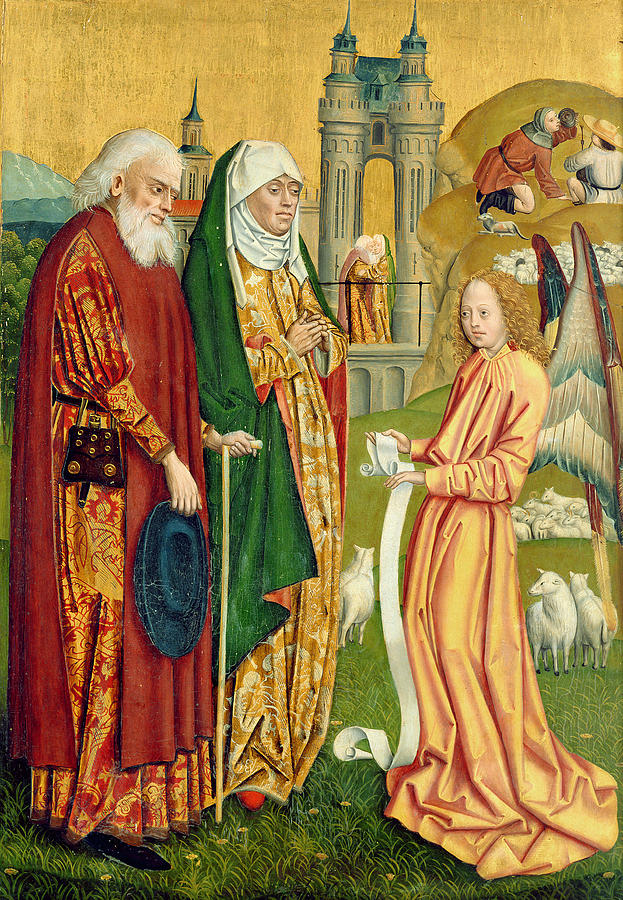Christian Painting - The Annunciation To Joachim And Anne, From The Dome Altar, 1499 by Absolon Stumme