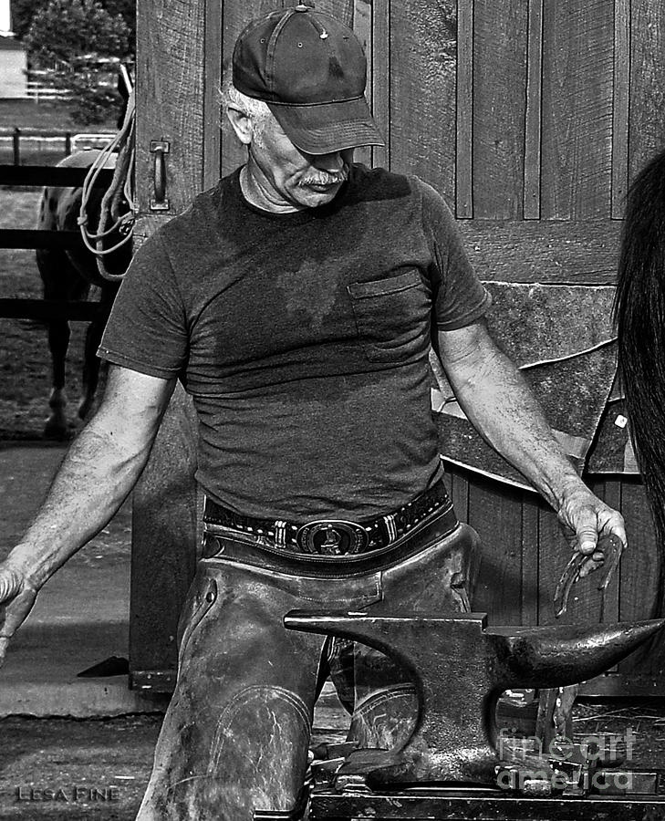 The Anvil And The Horseshoe Bw by Lesa Fine
