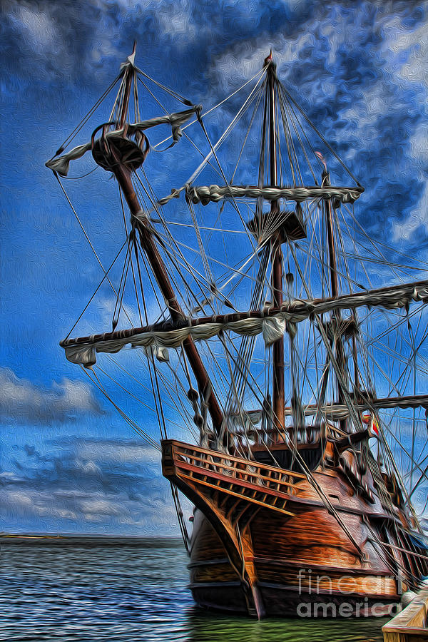 Ship Photograph - The Approaching Storm - Spanish Galleon by Lee Dos Santos