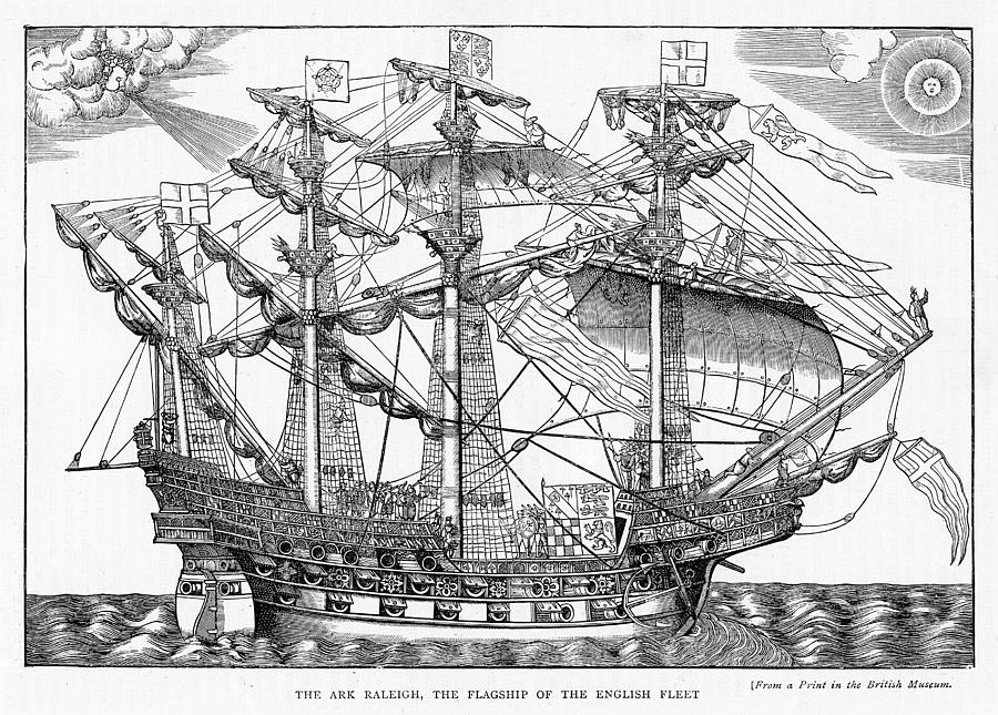 Ship Drawing - The Ark Raleigh The Flagship Of The English Fleet From Leisure Hour by English School