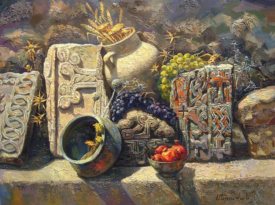 Cross Stone Painting - The Armenian Still Life With Cross  Stone Khachkar by Meruzhan Khachatryan