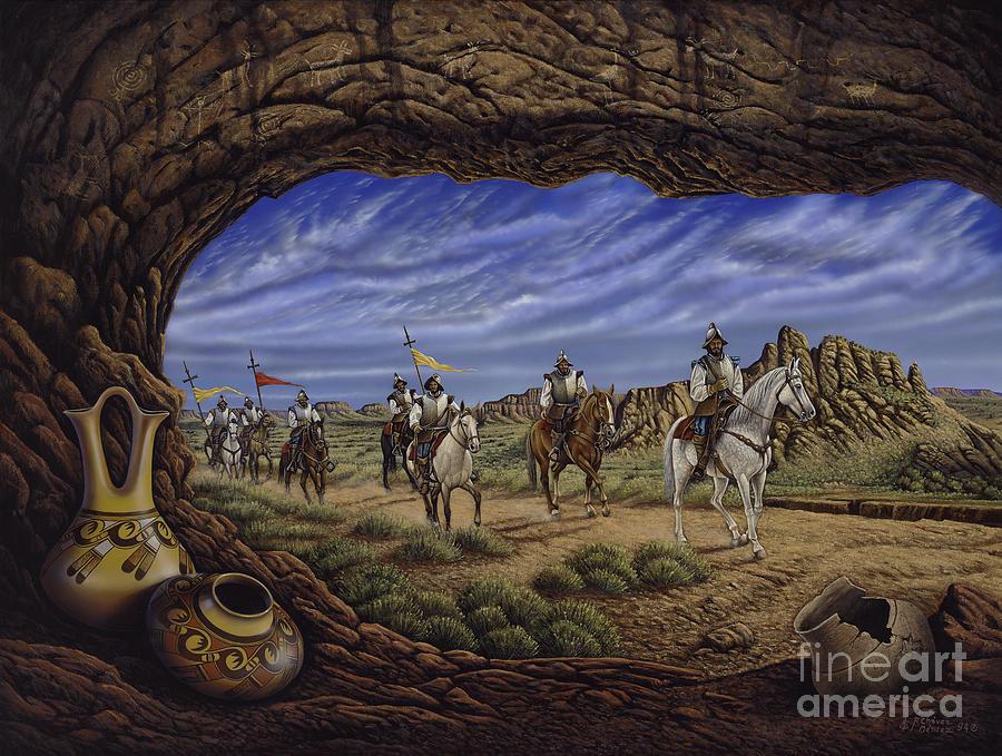 Spaniards Painting - The Arrival by Ricardo Chavez-Mendez