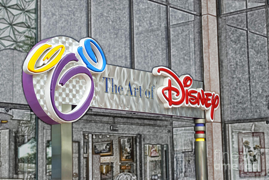 Selective Color Photograph - The Art Of Disney Signage Selective Coloring Digital Art by Thomas Woolworth