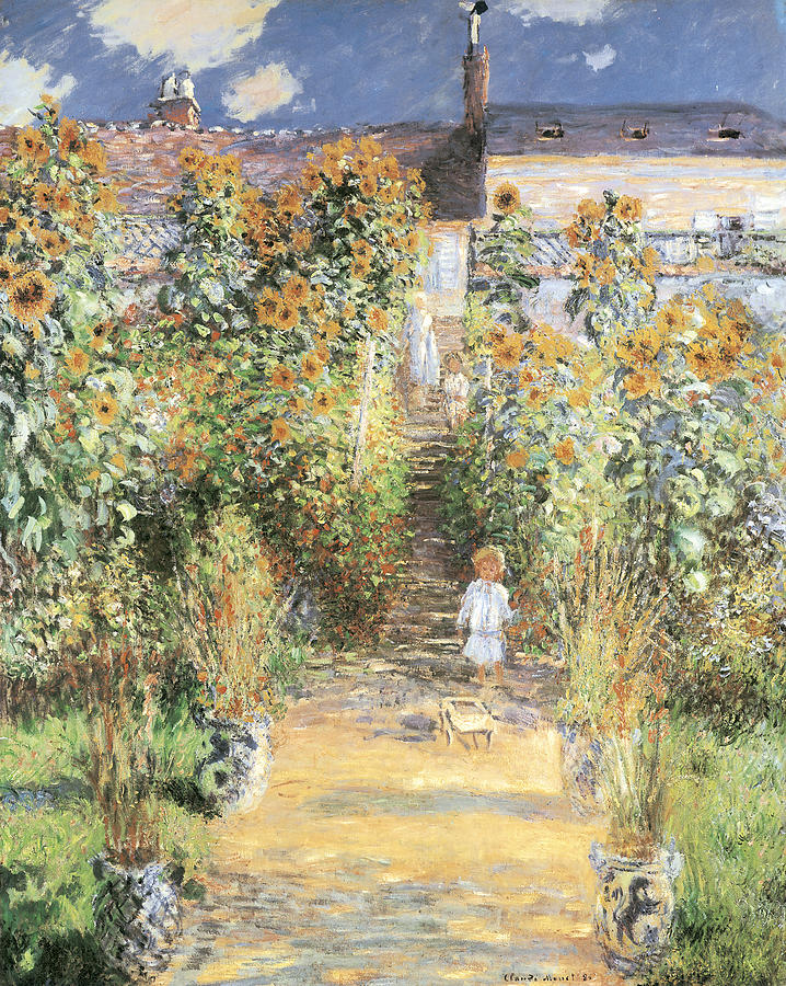 Garden Painting - The Artists Garden At Vetheuil by Claude Monet