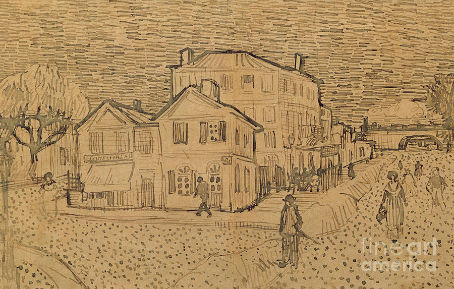 Drawing Drawing - The Artists House In Arles by Vincent Van Gogh