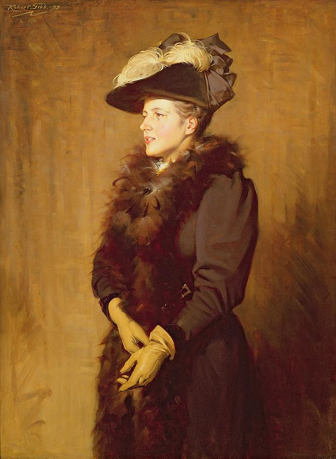 Gloves Painting - The Artists Wife, 1893 by Robert Gibb