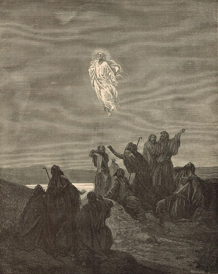 Biblical Drawing - The Ascension by Antique Engravings