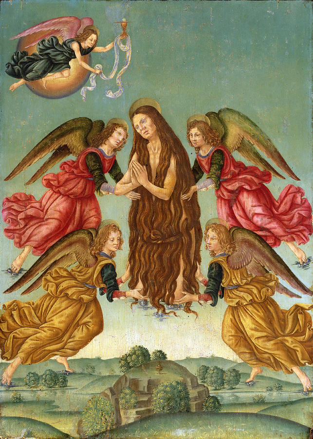 Religious Painting - The Ascension Of Saint Mary Magdalene by Master of the Johnson Ascension of Saint Mary Magdalene
