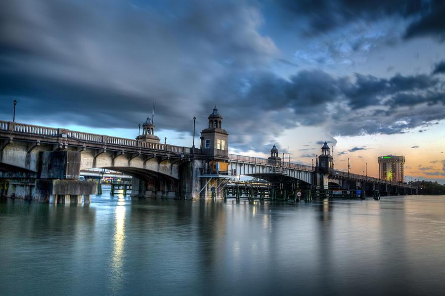 Ashley River Photograph - The Ashley River Memorial Bridge by Walt  Baker
