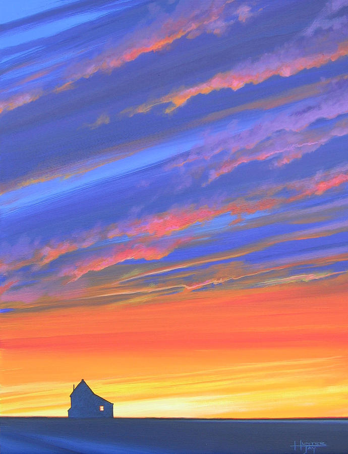 Sunset Painting - The Aunts House by Hunter Jay