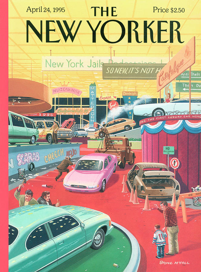 The Auto Show Painting by Bruce McCall