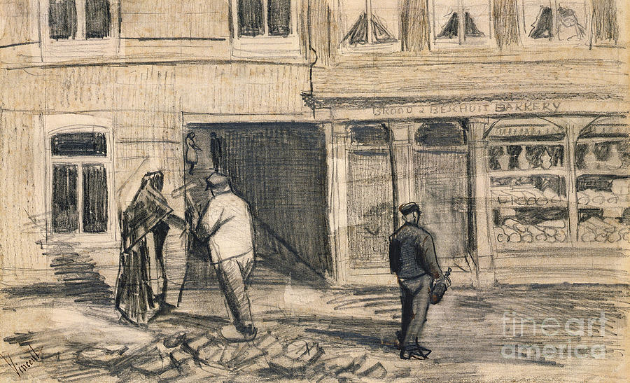 Street Drawing - The Bakery In De Geest by Vincent Van Gogh