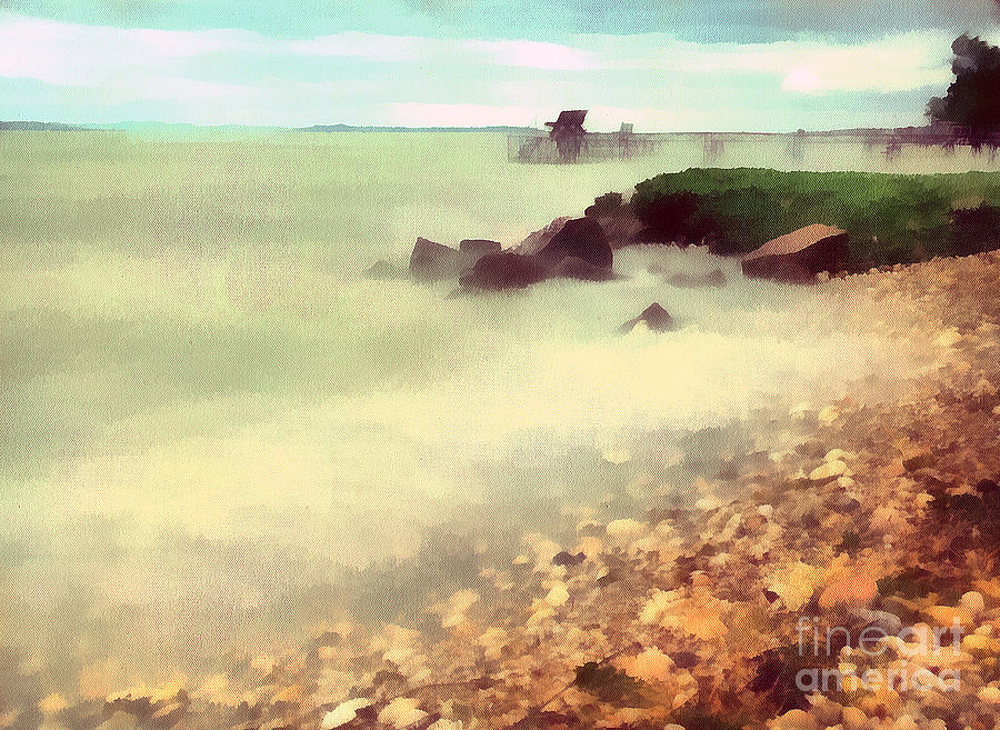 Odon Painting - The Balaton Shore by Odon Czintos