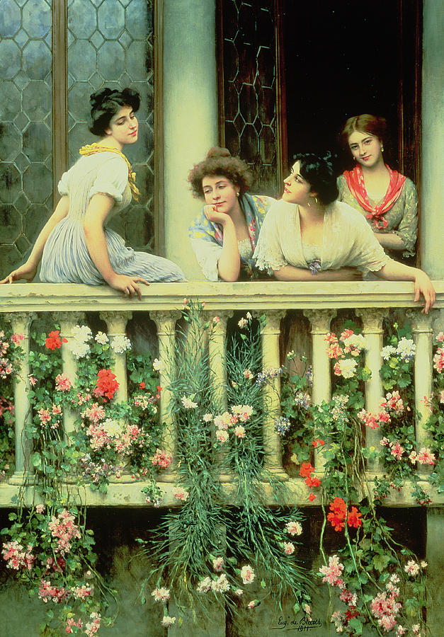 Female Painting - The Balcony by Eugen von Blaas