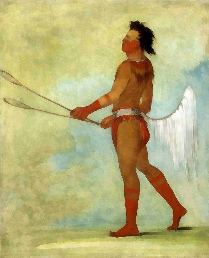 George Catlin Digital Art - The Ball Player by George Catlin