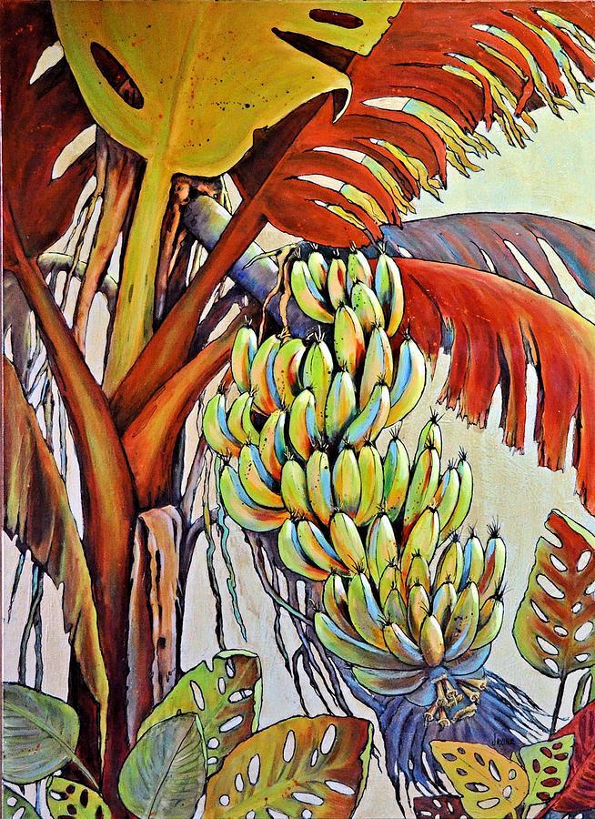 Tropical Painting - The Banana Tree by JAXINE Cummins