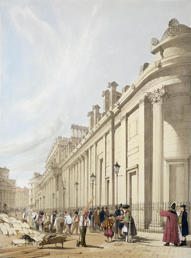 South Front Drawing - The Bank Of England Looking Towards by Thomas Shotter Boys