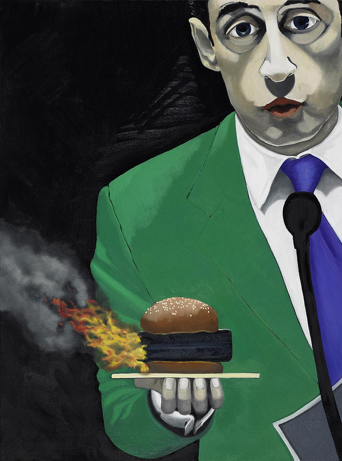 Burger Painting - The Banlieu Burger by Marcella Lassen