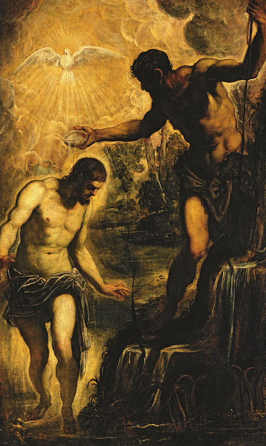 John The Baptist Painting - The Baptism Of Christ by Jacopo Robusti Tintoretto