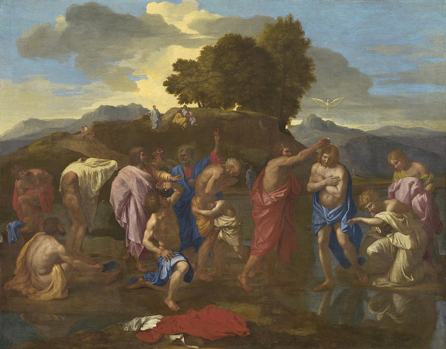 Jesus; Christ; Crucifix; Staff; St; John; Baptist; Saint; Baptising; River; Jordan; Dove; Holy; Spirit; Holy; Ghost; Baroque; Neo; Classical; Landscape Painting - The Baptism Of Christ by Nicolas Poussin