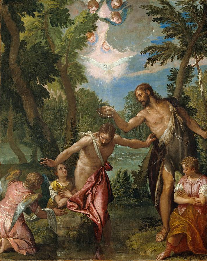 California Painting - The Baptism Of Christ by Paolo Veronese