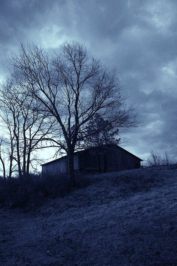 Barn Photograph - The Barn In Blue by Nina Fosdick