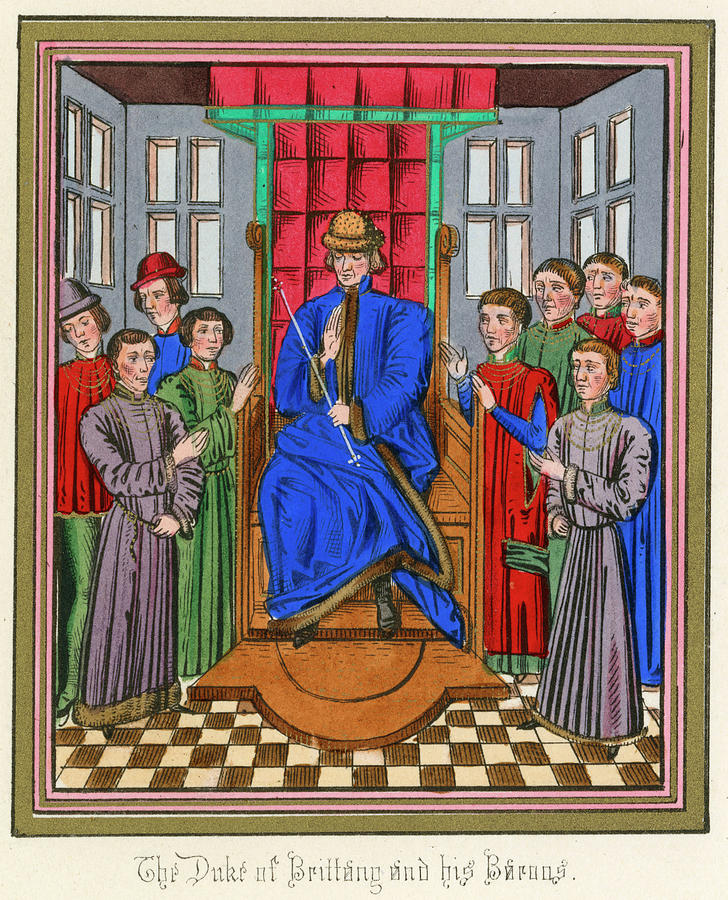 Breton Drawing - The Barons Of Bretagne Meet To by Mary Evans Picture Library