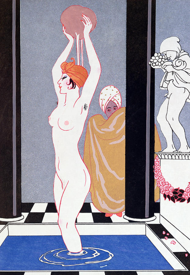 Female Painting - The Basin by Georges Barbier