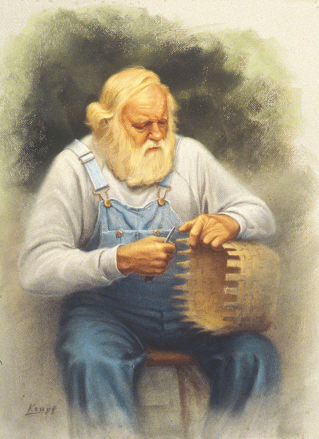 Bearded Man Painting - The Basketmaker In Pastel by Paul Krapf
