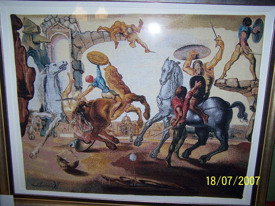 The Battle Around A Dandelion Tapestry - Textile by Salvadore Dali