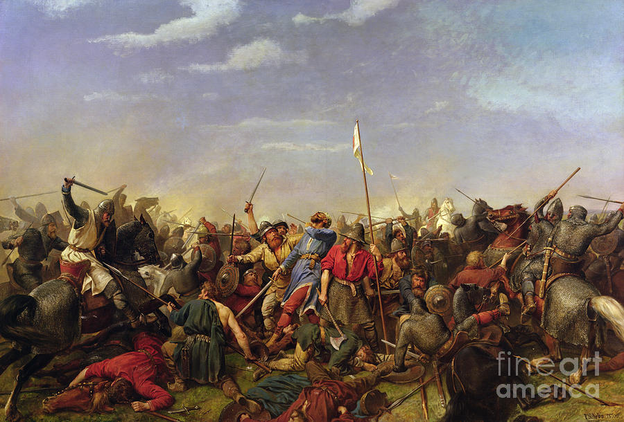 Battle Painting - The Battle At Stamford Bridge by Peder Nicolai Arbo