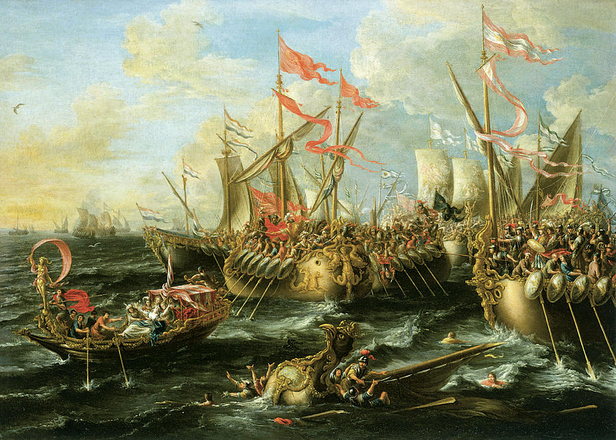 Battle Of Actium Painting - The Battle Of Actium 2 September 31 Bc by Lorenzo Castro