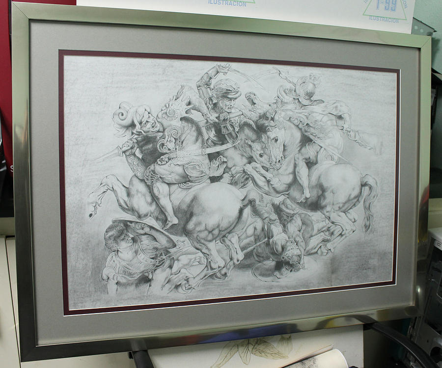 Leonardo Drawing - The Battle Of Anghiari Framed Up by Miguel Rodriguez