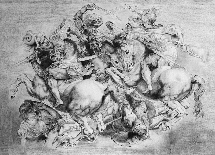 Battle Drawing - The Battle Of Anghiari by Miguel Rodriguez