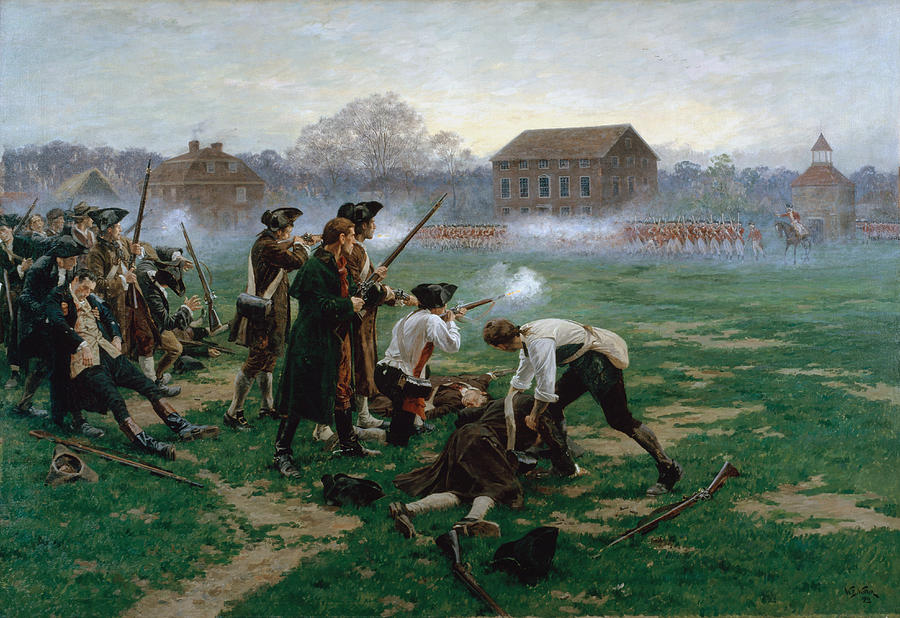 Massachusetts Painting - The Battle Of Lexington, 19th April 1775 by William Barnes Wollen