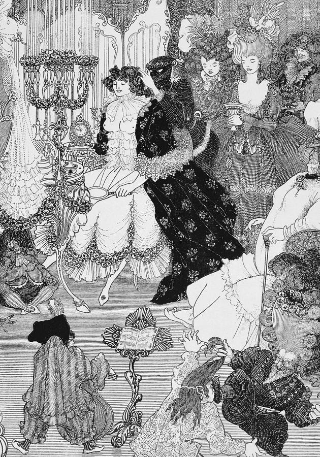Aubrey Drawing - The Battle Of The Beaux And The Belles by Aubrey Beardsley