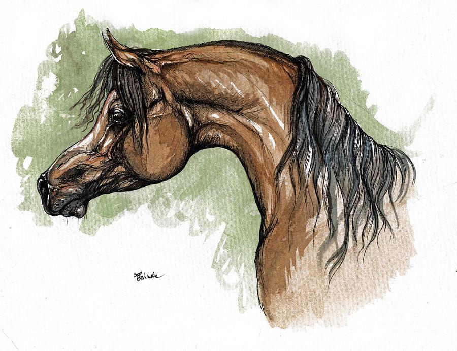 Horse Painting - The Bay Arabian Horse 12 by Angel  Tarantella