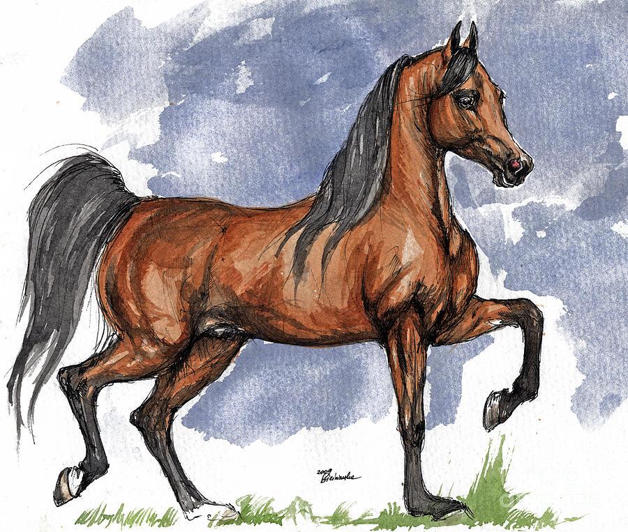 Bay Painting - The Bay Arabian Horse 17 by Angel Ciesniarska