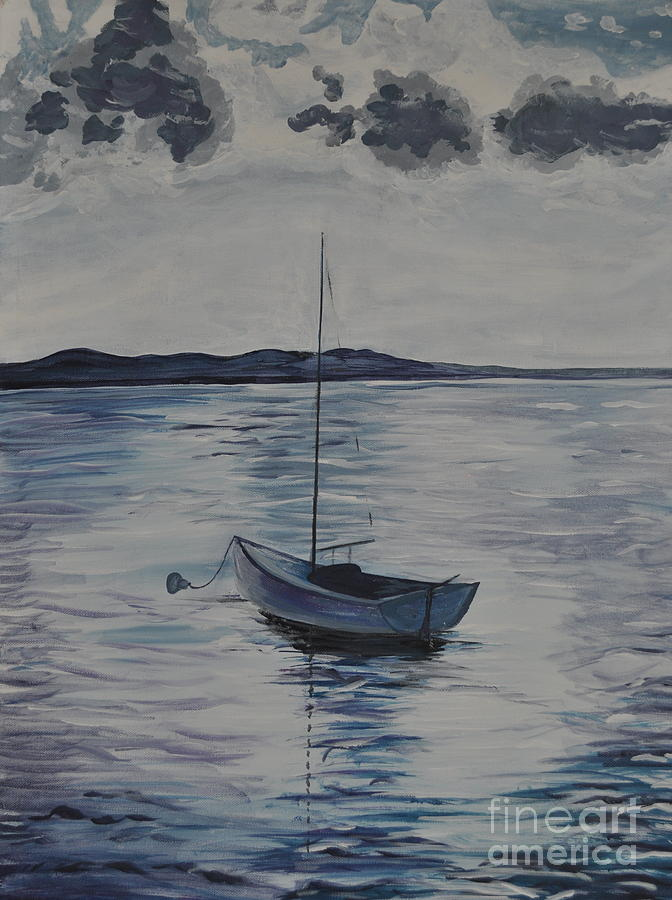 Boat Painting - The Bay by Sally Rice