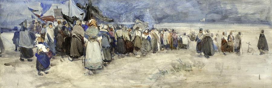 Berck Painting - The Beach Berck Sur Mer by Patty Townsend Johnson