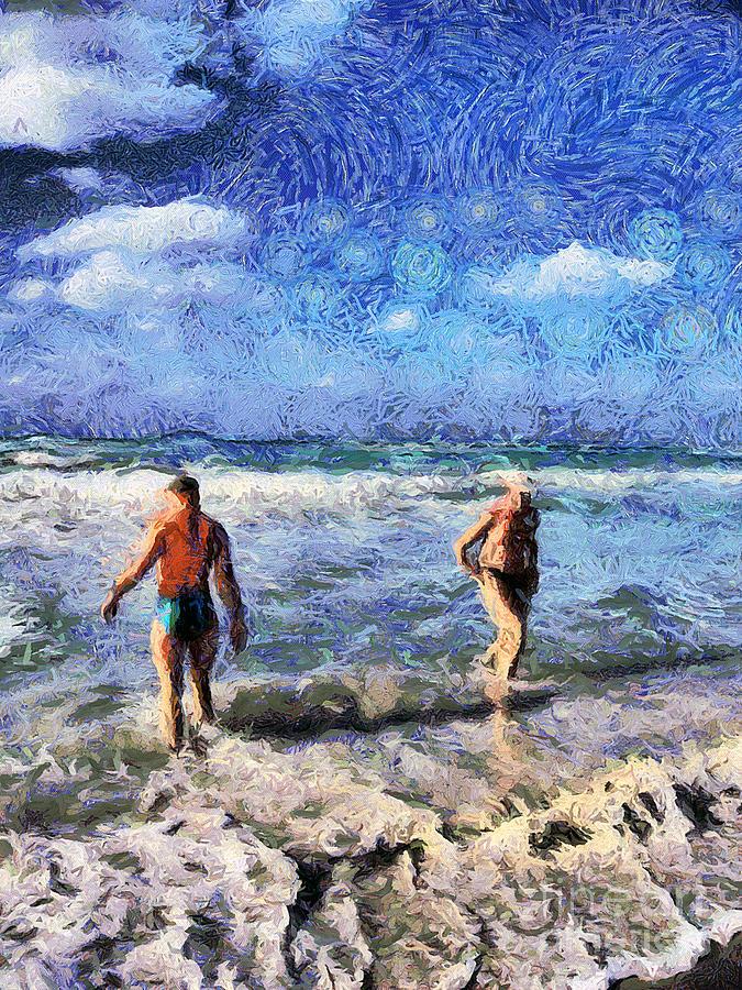 Cuba Painting - The Beach by Odon Czintos
