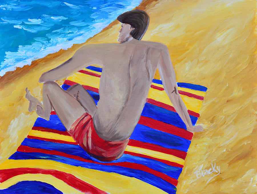 Man Painting - The Beach Towel by Donna Blackhall