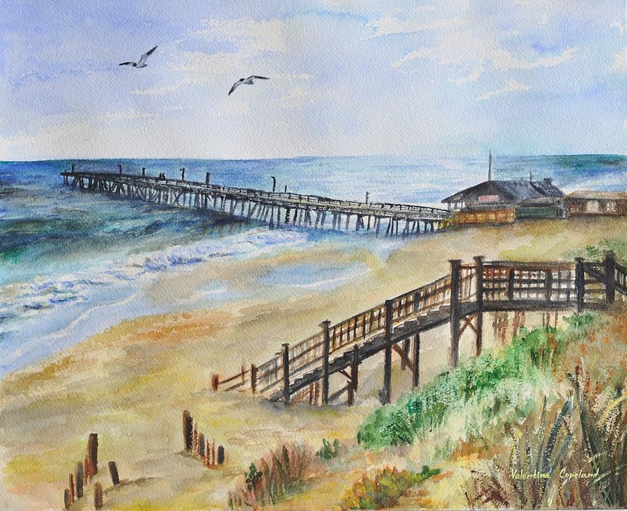 Nags head fishing pier painting by valentina copeland for Nags head fishing pier