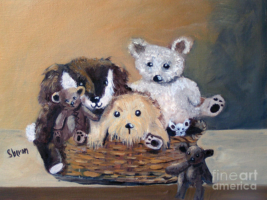 Toys Painting - The Bears Are Back In Town by Sharon Burger
