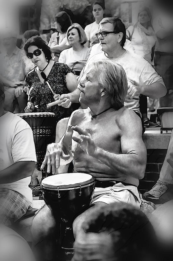 Drum Circle Photograph - The Beat Goes On by John Haldane
