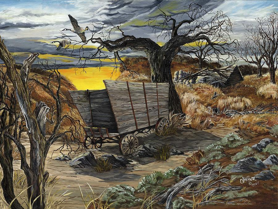 Covered Wagon Painting - The Beaten Path by Jim Olheiser