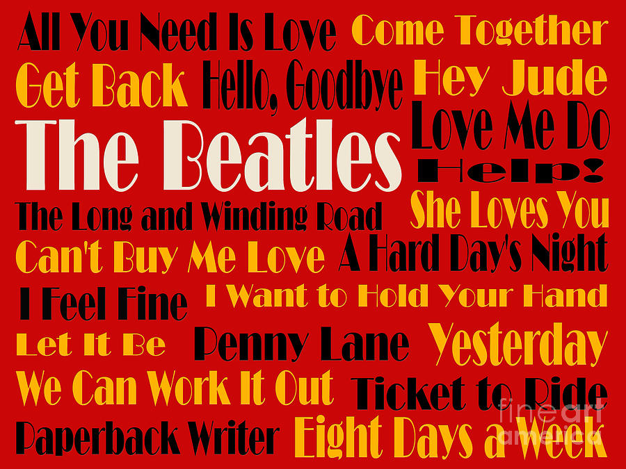 The Beatles Digital Art - The Beatles 20 Classic Rock Songs 2 by Andee Design